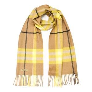 Burberry - Classic Check Cashmere Scarf in Lemon
